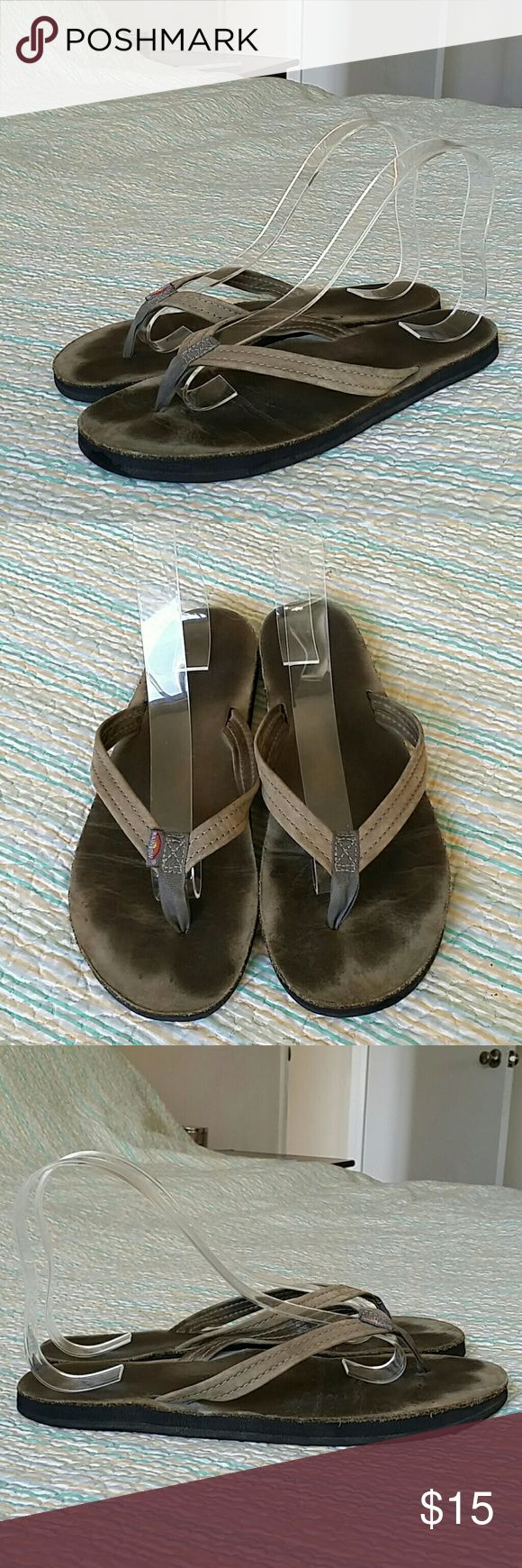 """Rainbow Army Olive Green Leather Thong Flip Flops Rainbow Army Olive Green Leather Thong Flip Flops Women's Size M 6.5-7.5 (10"""") Rainbow Shoes Sandals"""