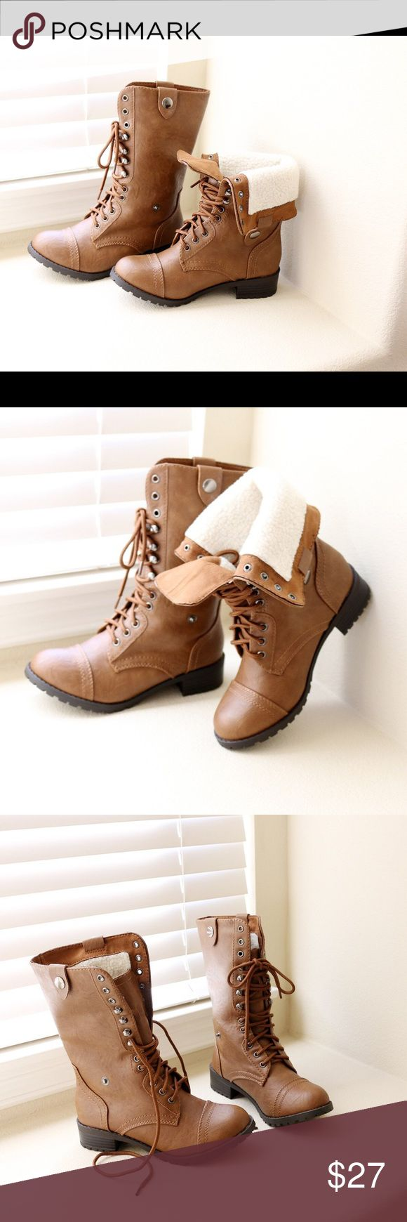 """oral-tan-combat boots Style                : Mid Calf Boots Heel Height     : 1 1/4"""" Color               : Tan Condition        : New in Box Main Material   : Man-made Material  (Faux leather) Fit                     : Slightly Small to Size Shaft Height    : About 9 3/4"""" Soda Shoes Combat & Moto Boots"""