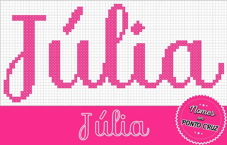 Nome Júlia em Ponto Cruz     Fonte: 01     Altura: 35 pontos     Largura: 78 pontos
