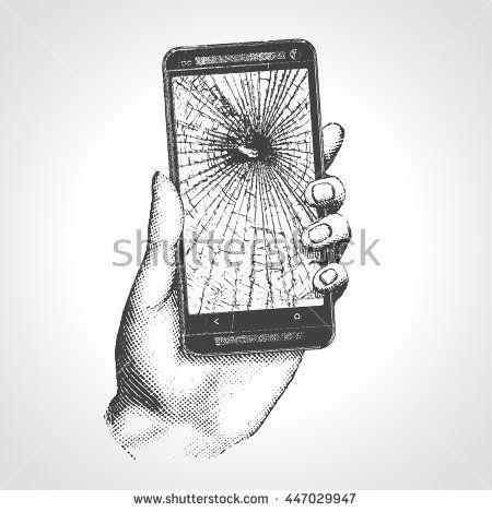 Hand Holding Phone Broken Screen. Hand drawn engraving style pen crosshatch…