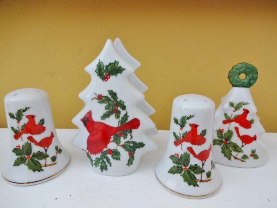 Vintage Lefton Christmas Cardinal China – Salt and Pepper Shakers – Napkin Holder – Dinner Bell Bell – Mid Century Christmas Decor