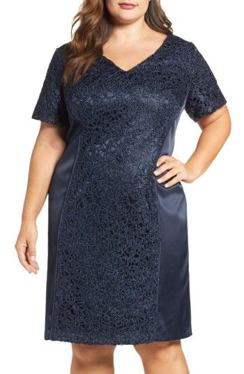 Free shipping and returns on Brianna Satin & Lace Sheath Dress (Plus Size) at Nordstrom.com. A sophisticated cocktail dress catches the light with an over-all satiny luster and panels of embroidered lace with metallic detailing.