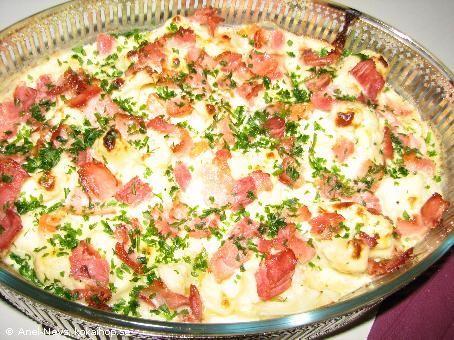 Blomkålsgratäng med knaprigt bacon