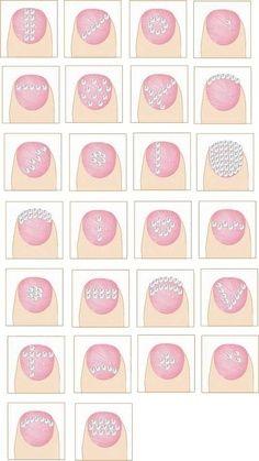 DIY - Rhinestone nail art ideas.