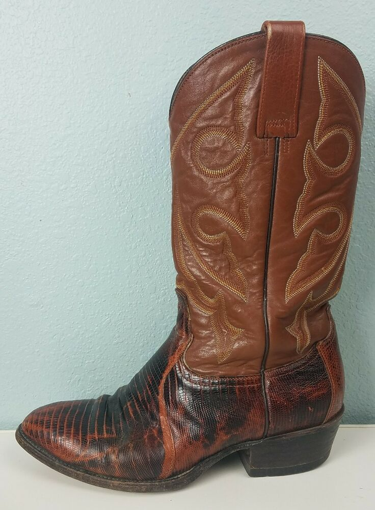 d23d2b6c9f6 Mens Longhorn Cowboy Boots Western Brown Leather Reptile Print Shoes ...