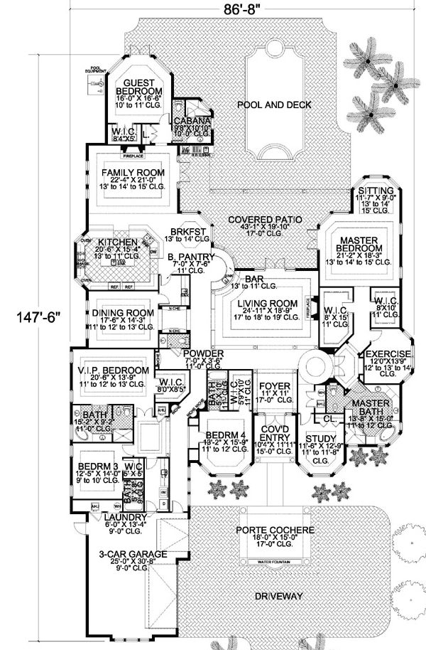 Multiple Private Spaces - 32127AA | Florida, Mediterranean, Luxury, 1st Floor Master Suite, Butler Walk-in Pantry, CAD Available, Den-Office-Library-Study, MBR Sitting Area, PDF, Split Bedrooms | Architectural Designs