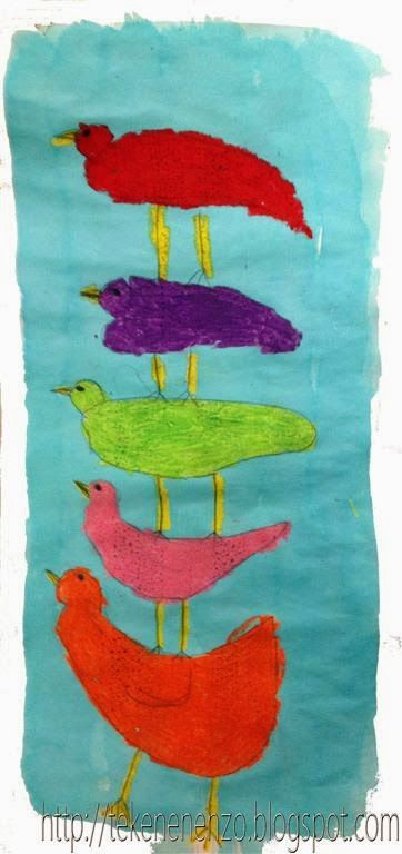 Tekenen en zo: lente  Gestapelde vogels
