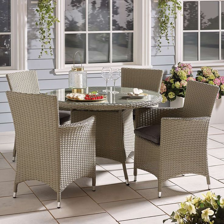 Cairo Grey 4 Seat Dining Set Dunelm Outdoor garden