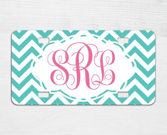 Chevron Monogram License Plate - Personalized Car License Plate - Car Accessories - Christmas Gift for Girl - Car Tag - Sweet 16 Gift