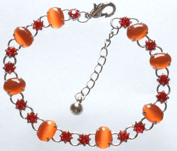 Charm Alloy Inlaid Light Orange Red Cat Eye Gem Crystal Extensible Bracelet