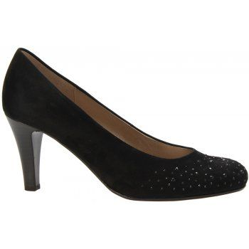 This is so typically Gabor, so add some sparkle to your autumn wardrobe with the Gabor Roxburgh court shoes. This heeled classic black suede shoe is finished off with colour coded jewel trim. With leather linings and a resin red sole, the Gabor Roxburgh are perfect for any occasion. http://www.marshallshoes.co.uk/womens-c2/gabor-womens-black-roxburgh-shoe-25-212-17-p2397