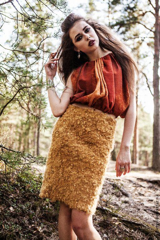 Купить Блуза Аэла - войлок, терракота, терракотовый цвет, терракотовый, новые амазонки, амазонка, амазонки