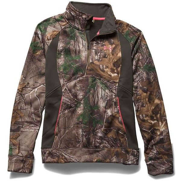 Under Armour Women's Camo Armourfleece 1/4 Zip Top ($75) ❤ liked on Polyvore featuring under armour