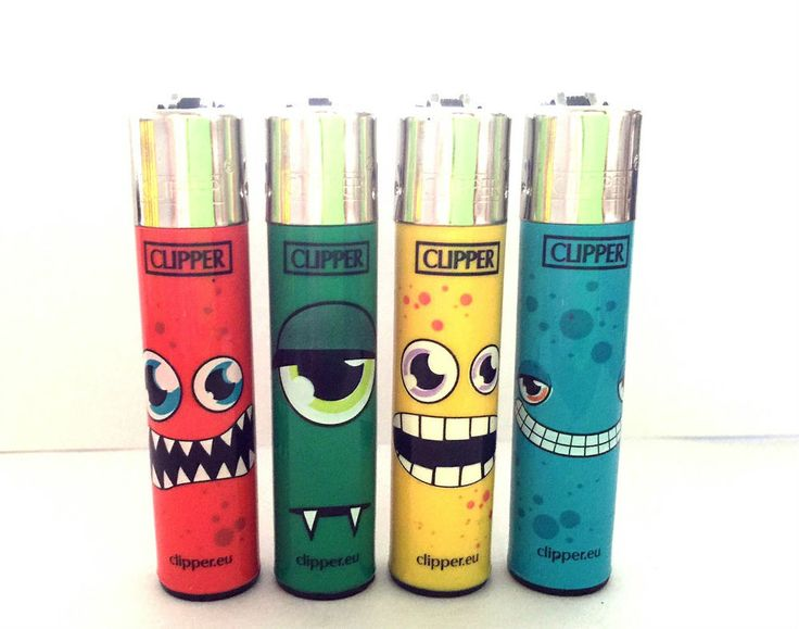 4 x CLIPPER LIGHTERS  MONSTER SCARY FACE EYES Design  LIGHTER *GENUINE PRODUCT*