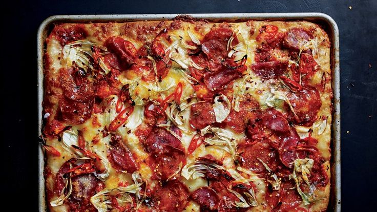 Hot and Sweet Soppressata and Fennel Grandma Pie Recipe | Bon Appetit
