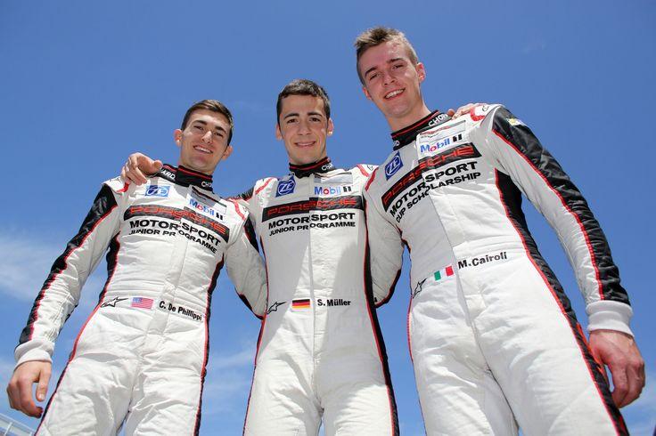 Connor De Philippi (USA), Sven Mueller (GER), Matteo Cairoli (ITA), (l-r), Porsche Mobil 1 Supercup Test Barcelona