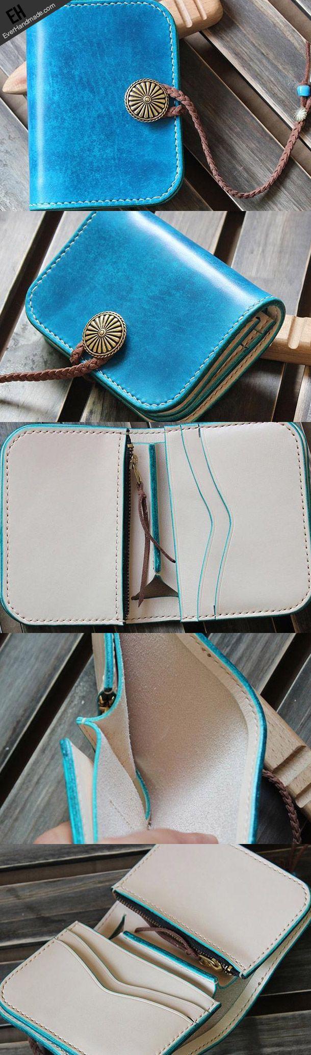 Handmade custom vintage purse leather wallet short small wallet