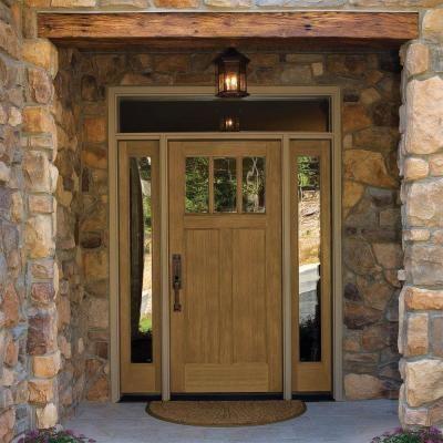 36 in x 80 in craftsman english walnut 2 panel 3 lite for Home depot craftsman door