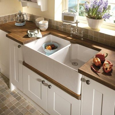 a double bowl butler style ceramic kitchen sink the sudbury gives you all the washing and food prep space a busy family needs - Double Ceramic Kitchen Sink