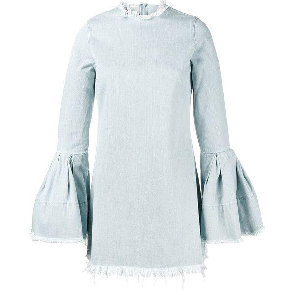 Marques'almeida denim bell sleeve mini dress (575 AUD) ❤ liked on Polyvore featuring dresses, denim, blue, short dresses, short blue dress, mini dress, denim dress and denim mini dress