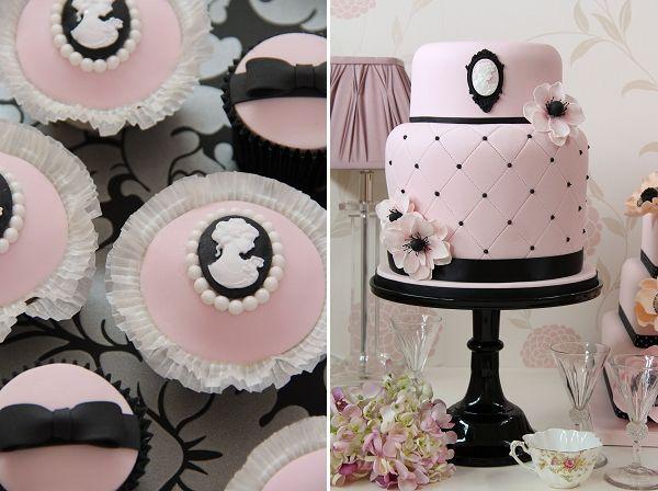pink & black cameo wedding cake