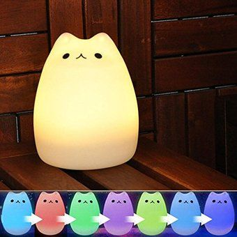 Cute Kitty LED noche niños luz niños Silicona gato lámpara de 7 colores intermitente USB recargable de iluminación, cálida luz blanca