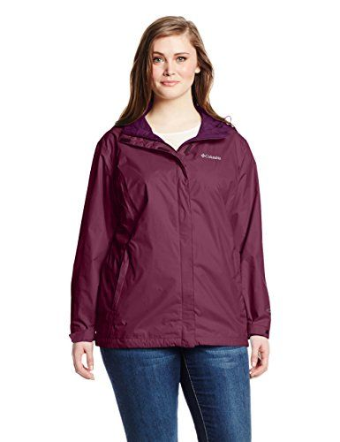 Columbia Women's Plus-Size Big Arcadia II Jacket. Omi-tech waterproof jacket featuring logo embroidery at chest, contrasting side panels, and hood. Side-zip pockets. Concealed zipper placket.