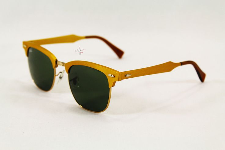 Ray Ban RB3507 Clubmaster Aluminum Gold Sunglasses CC C001 | eBay