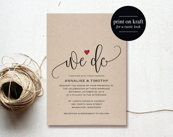 We Do Wedding Invitation Template, Rustic Kraft Invitation, Heart Wedding Invitation, Red, Kraft Printable, PDF Instant Download from Bliss Paper Boutique #BPB234 $12.50