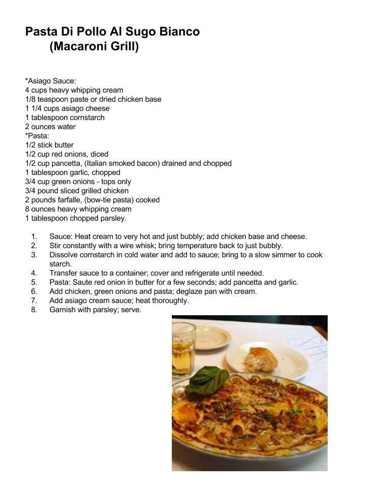 Macaroni Grill: Pasta Di Pollo Al Sugo Bianco