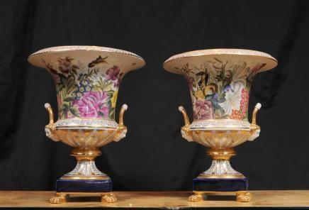 Pair Sevres Porcelain Floral Campana Urns Vases