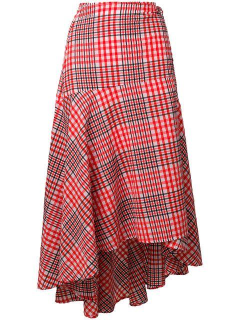 6aa385b1cc GABRIELLE'S AMAZING FANTASY CLOSET | Ganni's Red White & Black Cotton  Check Wrap Skirt has