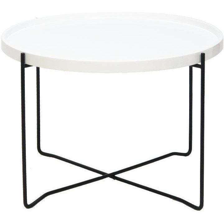 Side Table W/gloss Wht Top & Blk Metal Base | Flux Boutique