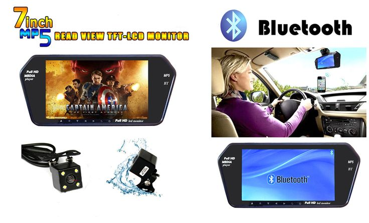 7inch LCD MP5 Car Mirror Monitor 12V HD 800*480 Auto Parking Monitor Screen for Reversing Rear Camera Parking Assistance