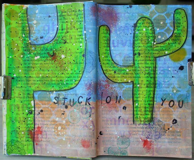 Sara Kronqvist - Saras pysselblogg: Stuck on you - Mixed media ArtJournal spread. Simple painted cacti