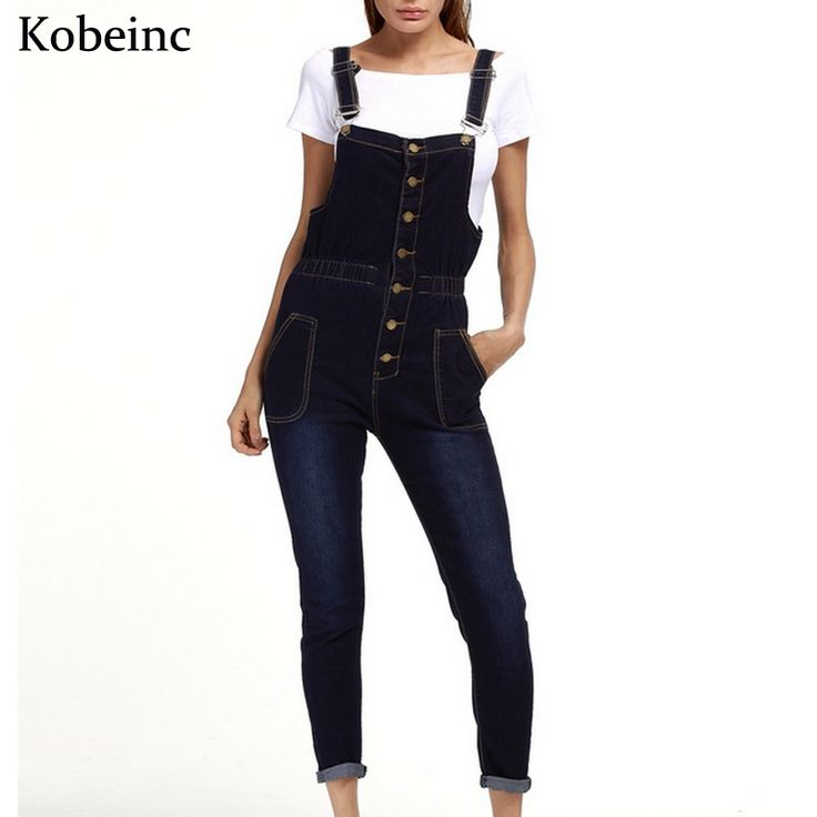 2017 Spring Skinny Denim Overalls for Women Single-breasted with Pockets Jumpsuits Female Plus Size Enteritos Vintage Bodysuits
