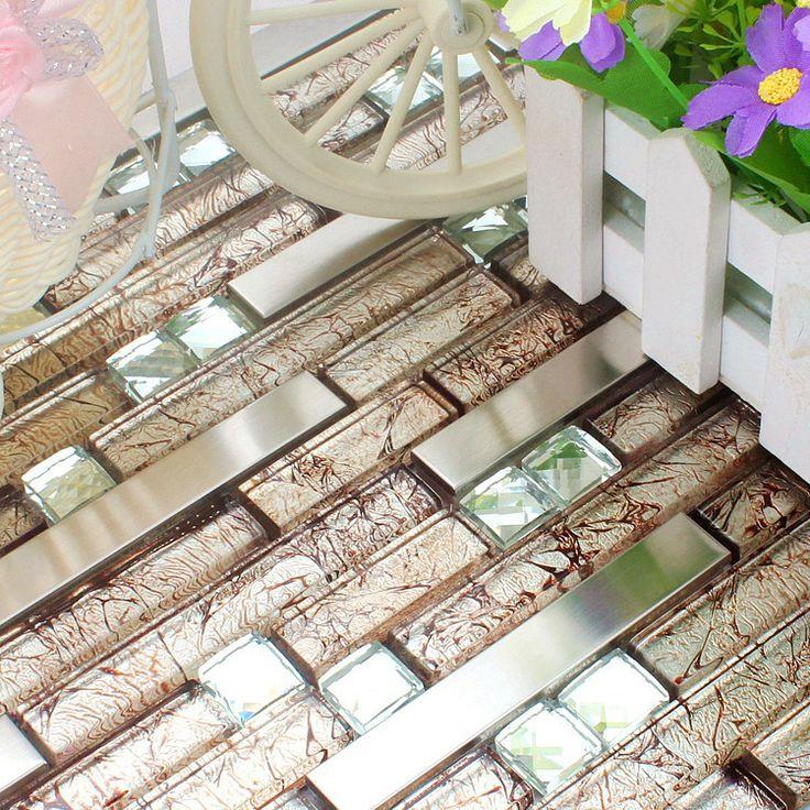 Barato Marrom HMGM1083E aço inoxidável mosaico de vidro telha backsplash cozinha azulejo da parede de mosaico de vidro diamante frete grátis, Compro Qualidade Adesivos de parede diretamente de fornecedores da China: black gray stainless steel glass mosaic tile HMGM1083I backsplash diamond glass mosaic kitchen wall tile free shippingUS