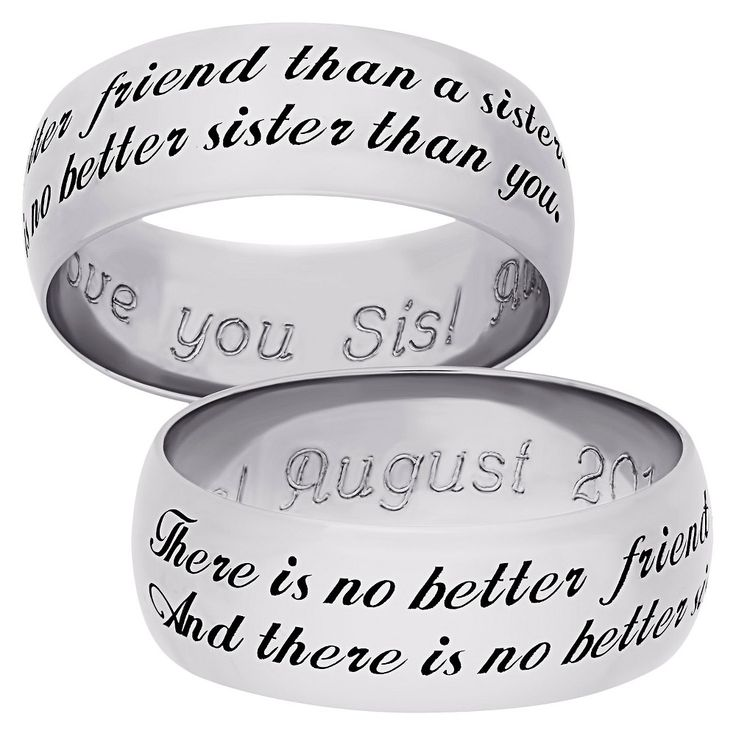 "Sterling Silver ""Sweet Sentiments"" Sister Band - Silver (12), Women's"