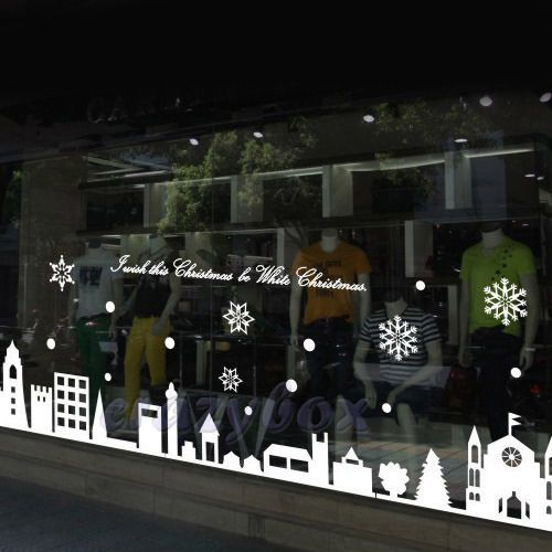 Christmas Removable Shop Wall Windows Stickers Decals Decoration Decor White