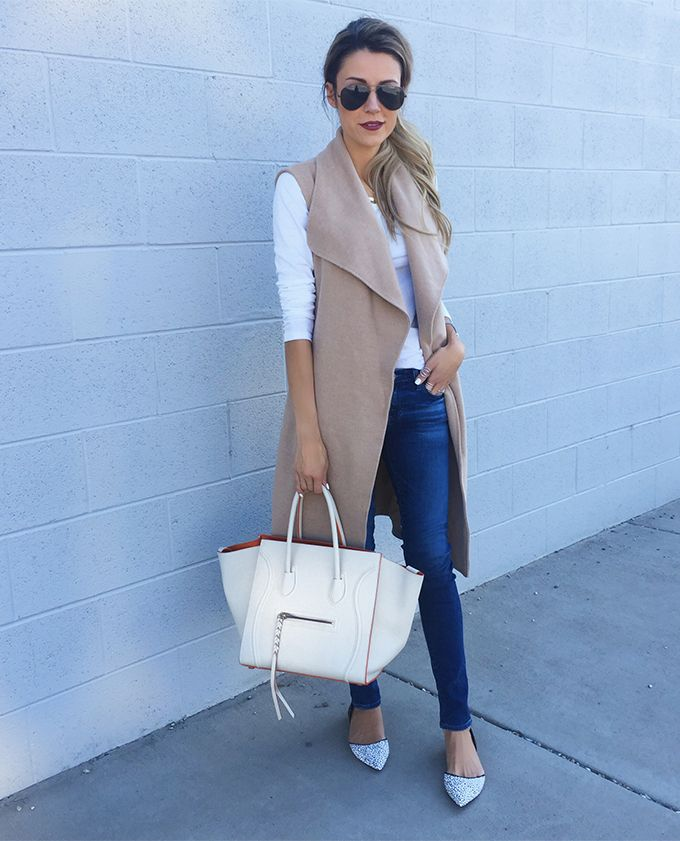 Camel long vest, white t-shirt, skinny jeans,  light blue shoes, white handbag