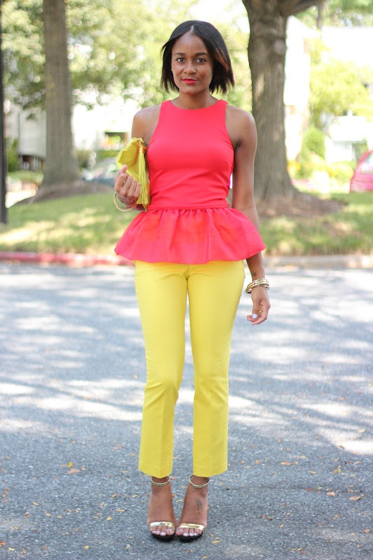 Bright yellow and coral colorblock, ruffled peplum top