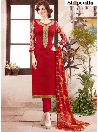 Hot Red Colour Cotton Straight Pant Style Suit-51002