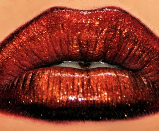 Gold and Red Lips By Roxanne R