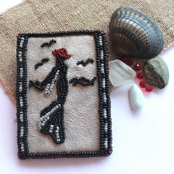 Walk by the sea Bead embroidered brooch Beaded jewelry Brooch