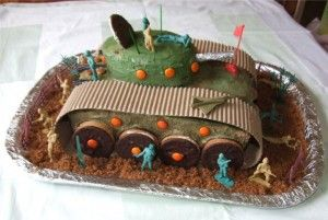 Army Tank Cake for a Kid's Army Themed Party