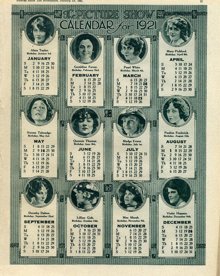 Movie divas on calendar of 1921