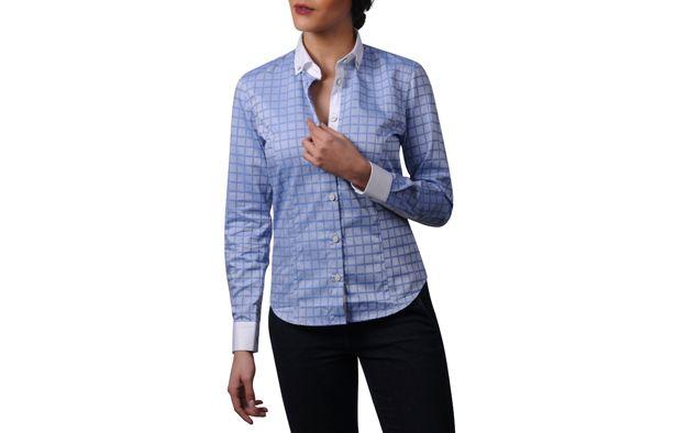 WOMEN Sky Blue Checkered Shirt Financial Buttoned Collar  94.90 USD
