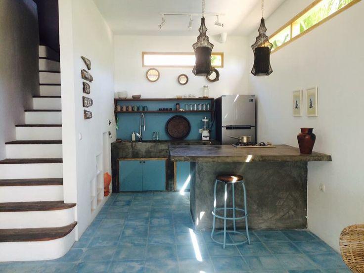 Kitchen, concert blue color, tropical island, beachfront villa