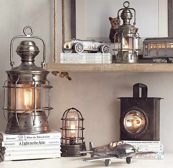 RH baby&child's Mini Mariner's Table Lamp Chestnut:Inspired by an antique ship light, our mini table lamp comes complete with a distinctive metal cage designed to protect the glass shade from the elements of daily life.