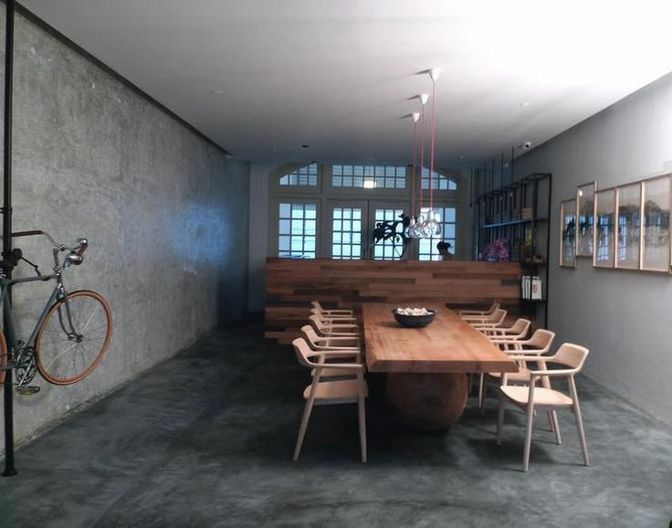 Wooden tables cement and furniture on pinterest for Industrial flooring for homes